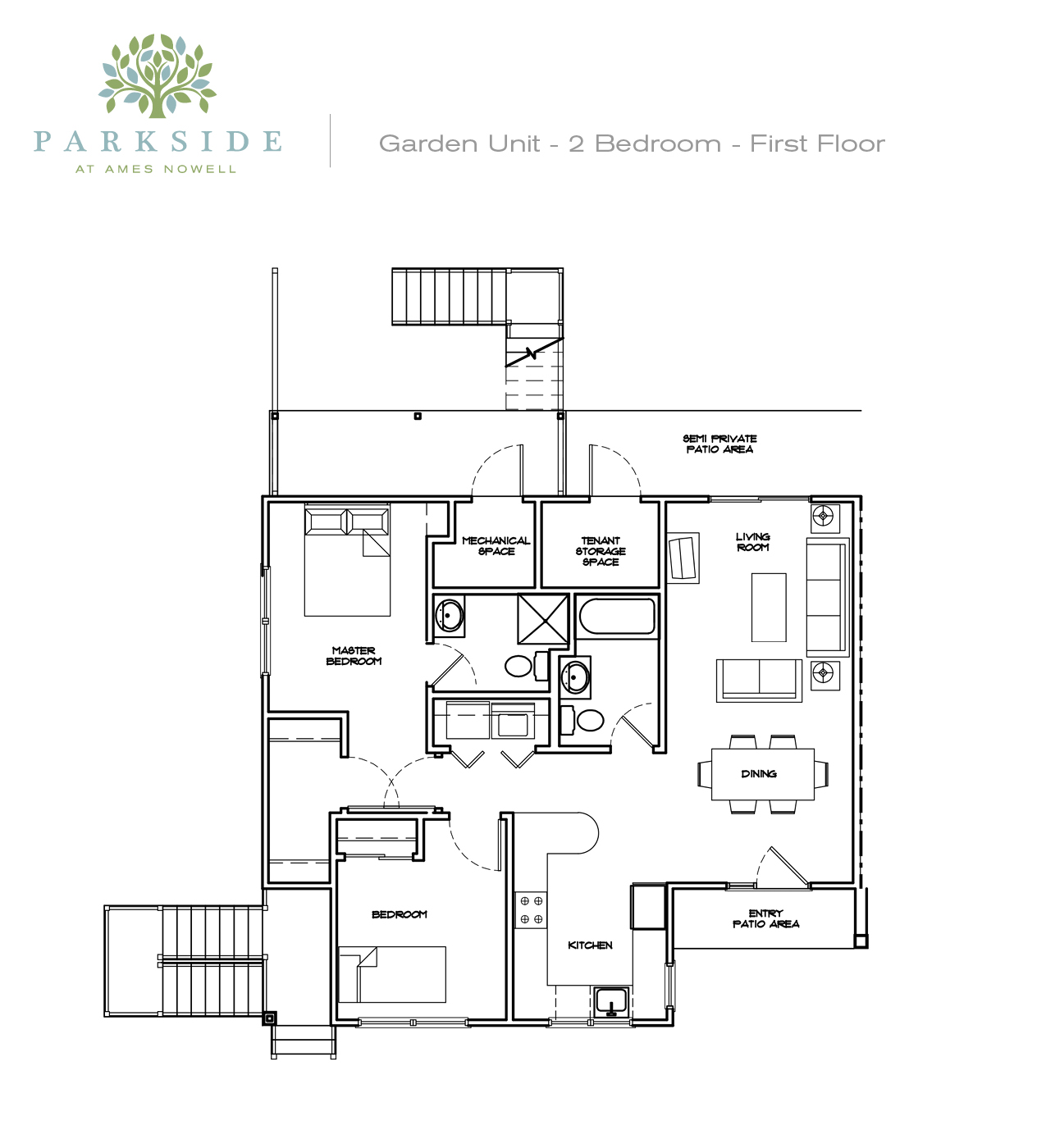 Parkside 1 Garden 2 Bedroom