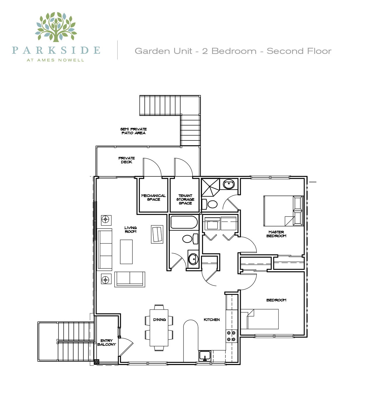 Parkside 1 Garden 2 Bedroom 2nd Floor