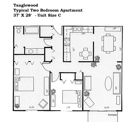 Douglas Commons in North Providence, RI One Bedroom Floor Plan